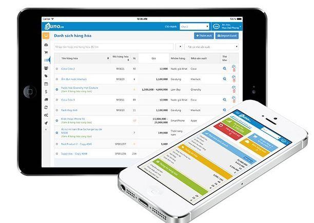 Phần mềm quản lý Suno được tích hợp trên di động.