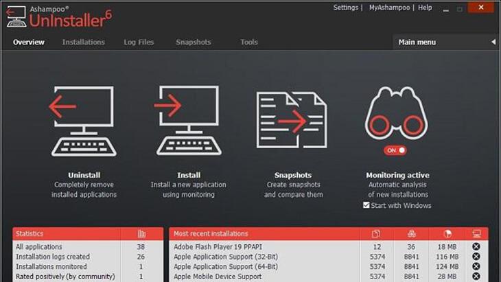 Giao diện phần mềm Ashampoo Uninstaller