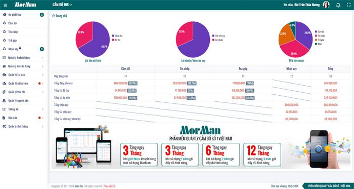 Phần mềm quản lý tiệm cầm đồ Morman