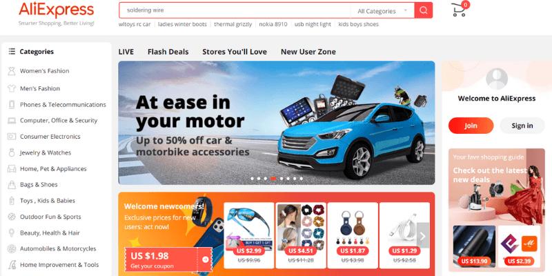 website thương mại điện tử aliexpress